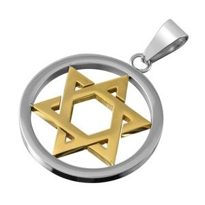 Stainless Steel Silver Gold Star of David Necklace